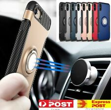 iPhone X 8 7 Plus Magnetic Shockproof Case Cover with Ring Car Holder For Apple