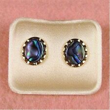 Paua Jewelry - Gold Plated Oval Stud Earrings (PE211)