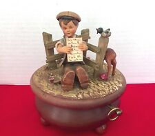 Wooden Music Box with Young Boy Thoran made in Switzerland Wooden Collectible