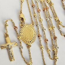 14k Solid 3 Yellow Gold Rosary Beads virgin Mary crucifix Jesus Cross Necklace