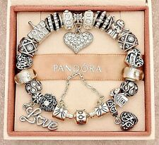 Authentic Pandora Silver Bracelet with Wife Family Mom European Charms