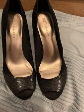 M&S Colección Peep Toe Tacones Talla 7.5 Negro Zapatos impresionante