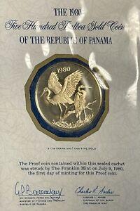 RARE Republic Of Panama Gold Proof Coin Egret 500 Balboa 1980  Franklin Mint