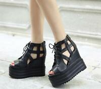 WOmen's Roma High Wedge Heels Platform open Toe Lace Up Gothic Sandals Shoes