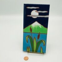 Vintage Besheer Art Tile Hot Plate Trivet Window Mountains Moon Night Cattails