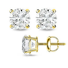 0.60CT H/SI2 Round Cut Genuine Diamonds 14K Solid Yellow Gold Studs Earrings
