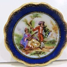 "Limoges Miniature DISH PLATE Hand Painted France 1.75"" Diameter Signed"