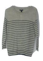 J. Crew NEW Womens S Gray Striped Merino Wool Blend Sweater Shimmer Lightweight