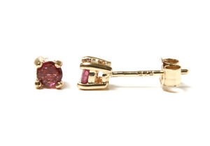 9ct Gold Ruby Studs 3mm Round Earrings Gift Boxed Made in UK Birthday Gift