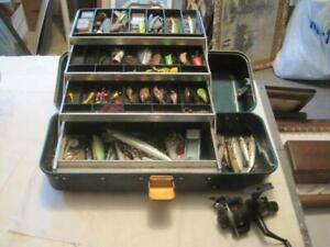 Vintage UMCO 43-r Tackle Box With Lots Of Used Lures, Tackle, Shimano Reel