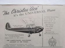 2/1946 PUB CHRISLEA AIRCRAFT ACE AVION PLANE FLUGZEUG ORIGINAL AD