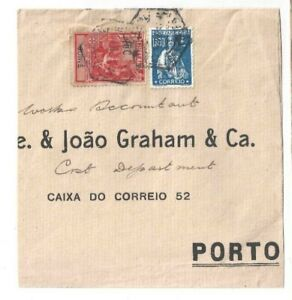 Portuguese GUINE 1925 partial cover to OPORTO 1$60 CERES plus 15 cent added