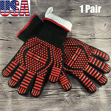Bbq Grill Gloves, 1472°F Extreme Heat Resistant Non-slip Silicone Oven Mitts 2