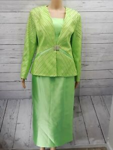 Terramina Womens Skirt Suit Set 10 Blazer Lime Green Lined Rhinestone Modest