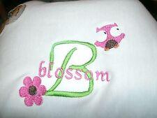 Personalized Baby Infant Toddler Blanket Girl Owl & Flower Font