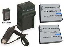 TWO Batteries + Charger for Samsung HMX-Q10UN HMX-Q10UN/XAA HMX-Q10PN HMX-Q10BP
