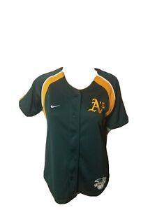 Oakland Athletics A's Embroidered Nike Jersey Green Womens Medium MLB Baseball