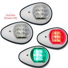 2x Red&Green 12V LED Navigation Lights Marine/Boat Port & Starboard - WHITE CASE