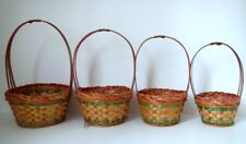 Sweet Vintage Lot 4 Easter Baskets Identical Pink Green Woven Graduated Sizes