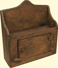 Country Primitive Folk Art Aged Brown Tan Wall Thermostat Cover Cabinet Shelf