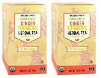 2pk Trader Joe's Organic Ginger Turmeric Herbal Tea 20 envelopes each