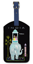 Leatherette Vintage Art Luggage Tag - India by Bernard Villemot