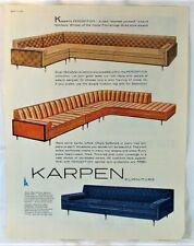 VTG MCM 1960 Karpen Furniture Sofas Davenports Sectionals Photo Print Ad