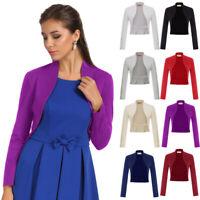 Women's Long Sleeve Bolero Shrug Coat Tops Stretch Cropped Cardigan Top Sweaters