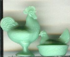 DOLLHOUSE Miniature Pale Green  Rooster and Hen on the Nest for 1:12 Doll House