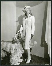 GINGER ROGERS w UNUSUAL AFGHAN DOG Original Vintage 1940s PORTRAIT DBLWT Photo