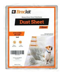 Brackit Extra Thick Polythene Dust Sheet – 9x12ft – Protective Furniture Covers