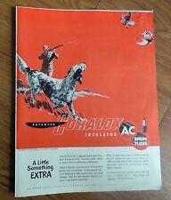 1950 Ac Spark Plugs Ad English Setter Dog Hunting Birds Pheasants