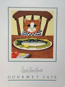 LINDA JANE SMITH Kittens Katzen 1989 GOURMET CATS  Lithograph Signiert NEU
