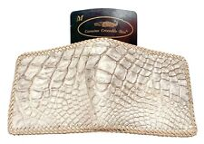 Genuine Real Alligator Crocodile Belly Leather Skin Man Bifold White Wallet