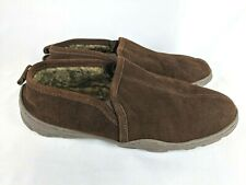 Clarks Brown Suede Faux Fur Lined Moccasin Slippers Shoes Men's Size 11 M