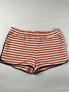 J.Crew Sweatshorts Womens L Ivory Orange Striped Elastic Waist Pockets New AY317