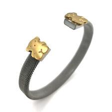 Fashion Womens Stainless Steel Mesh Teddy bear 14k Gold Bracelet Bangle