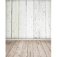 3X5FT Weiß Wand Holzboden Kulissen Fotografie FotoStudio Hintergrund Anmut Szene