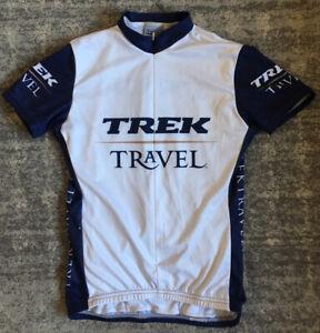 Trek Cycling Jersey Womens Small White Navy Short Sleeve Water Bottle Holders B1