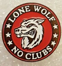 LONE WOLF NO CLUBS enamel pin / lapel badge Rocket Sprint