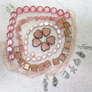 HUGE, Pink Pearl, Squares, flattened rd, Quartz, seed +Ocean Charms