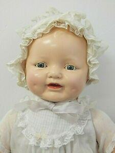 """Vintage 1927 Horsman 22"""" DIMPLES Compo. Mama Doll in Original Dress, Bonnet, EUC"""