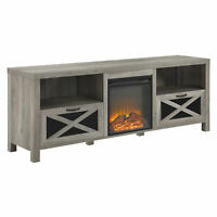 "70"" Rustic Farmhouse Fireplace TV Stand - Grey Wash"