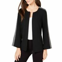ALFANI NEW Women's Striped-sleeve Front-zip Jacket Top TEDO