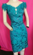 """New listing 1980's Vintage Turquoise Sheath Mcclintock Cocktail, Prom Dress 36"""" Bust-Usa"""