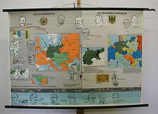 School Wall Map Empire War German Empire until Weimar 117x83 Vintage ~ 1959