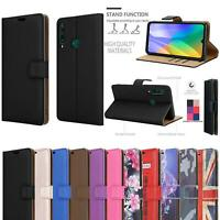 For Huawei P40 Lite E Case, Leather Wallet Stand Flip Phone Cover + Screen Glass