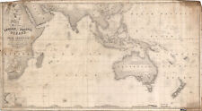 1870 Chart of the Indian and Part of the Pacific Oceans Map Wall Poster Historic