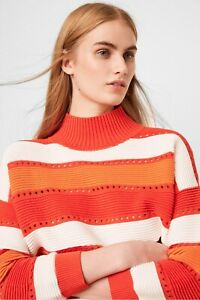French Connection Liliya Stripe Cutout Womens Jumper (Poppy Red) RRP £75.00