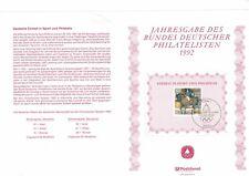 GERMANY DEUTSCHE BUNDESPOST 1992 SPORT PROMOTION FUND DRESSAGE NUMBERED LEAFLET